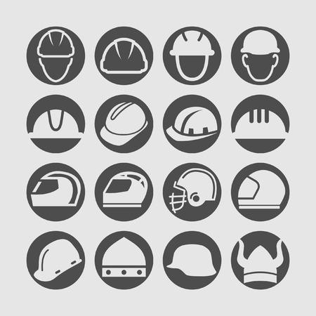 work hard: helmet icon set