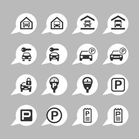 parking icon set Vector