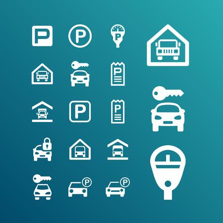car park: parking icon set