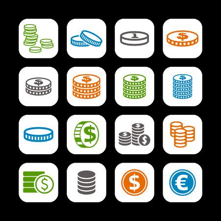 coin icon set Ilustração