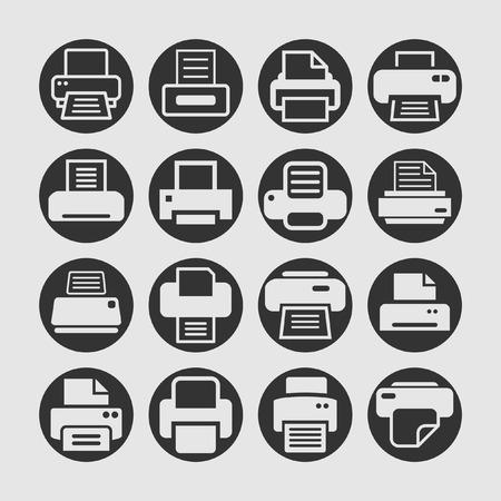 object print: printer icon set Illustration