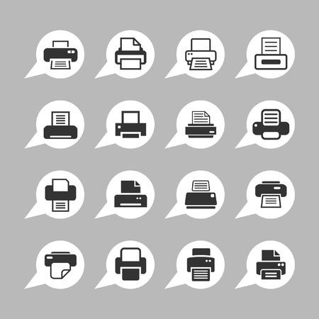 printer icon set Illustration
