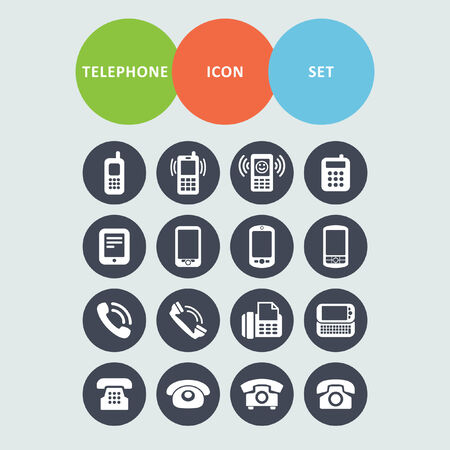 old cell phone: telephone icon set Illustration