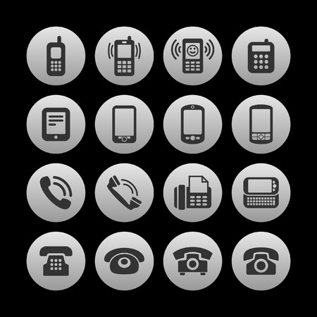 old phone: telephone icon set Illustration