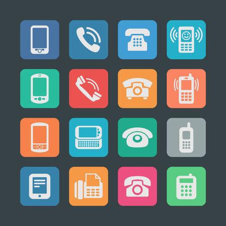 old telephone: telephone icon set Illustration