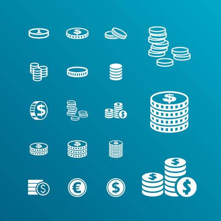 dinero euros: moneda de conjunto de iconos Vectores