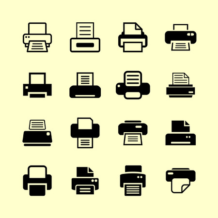 fax machine: printer icon set Illustration