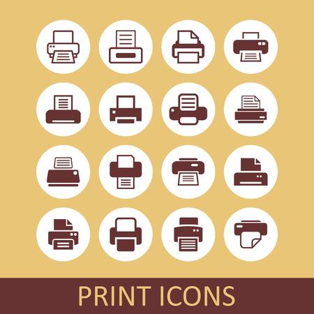 printer icon set Vector