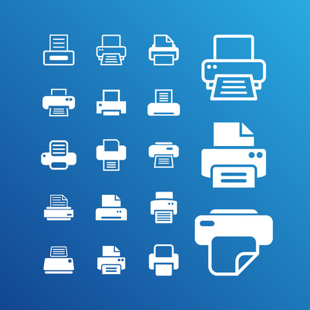 printer icon set Illustration