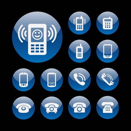 telephone icon set Ilustração