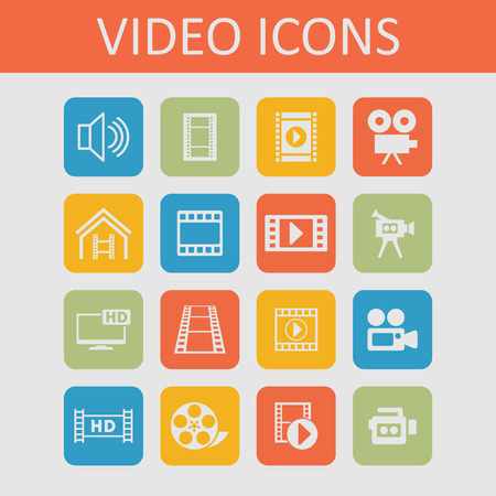 video camera icon: film icon set Illustration