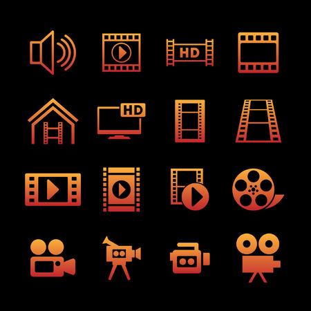 tv screen: film icon set Illustration