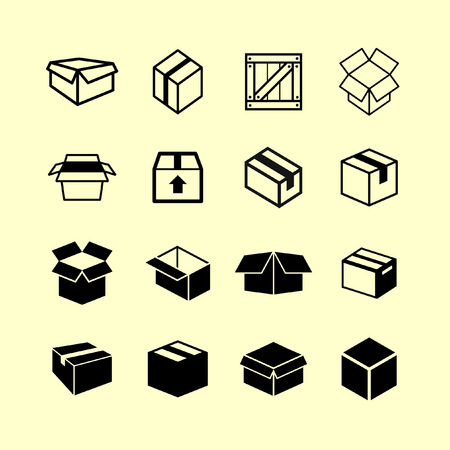 boîte, icône, ensemble