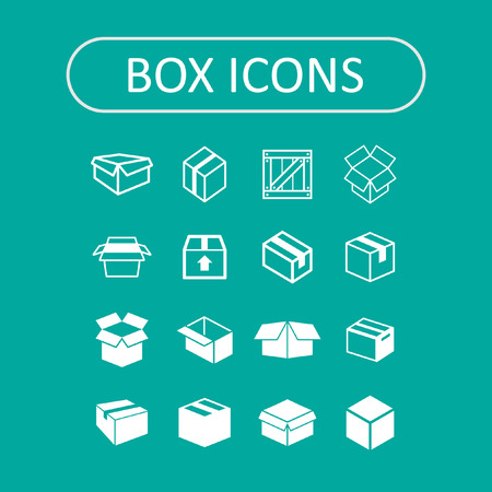 delivery box: box icon set