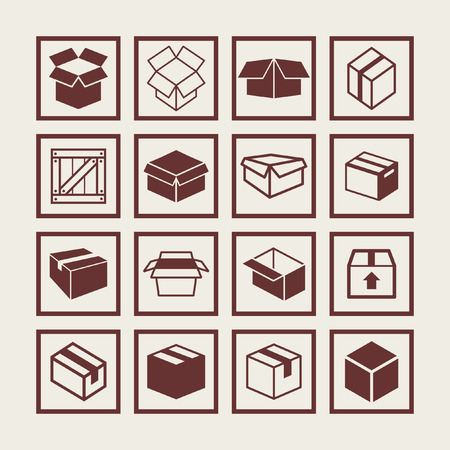 packing boxes: box icon set