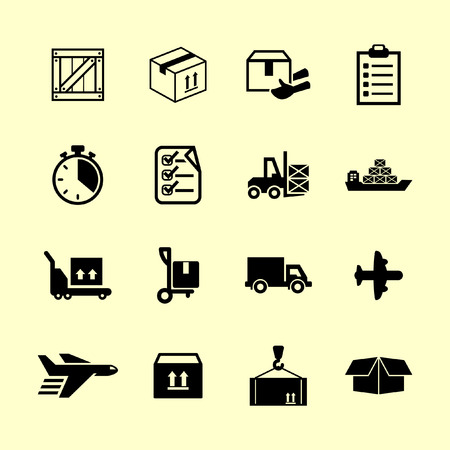 air freight: delivery icons