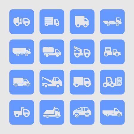 automobile industry: truck icon set Stock Photo