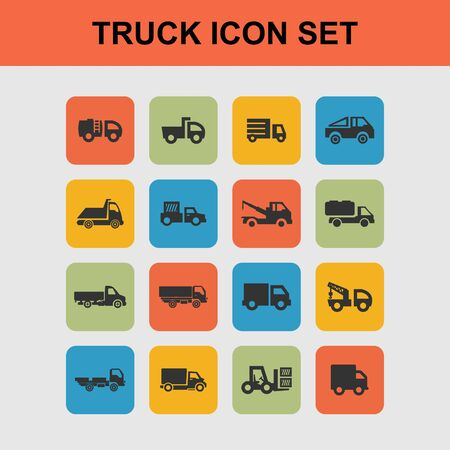 the wrecker: truck icon set Stock Photo