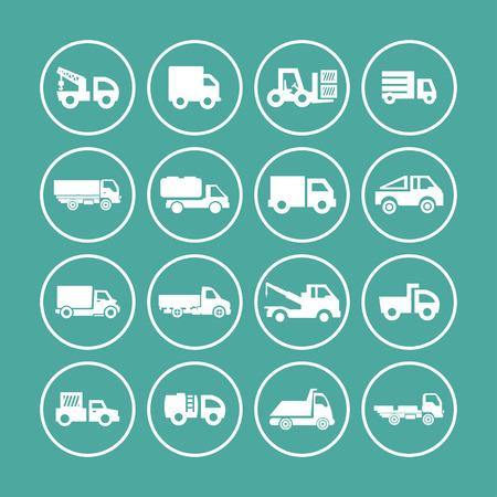 transportation facilities: truck icon set Stock Photo