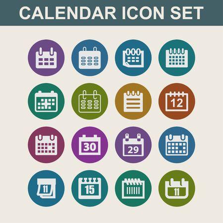calendar date planning icon set Stock Photo