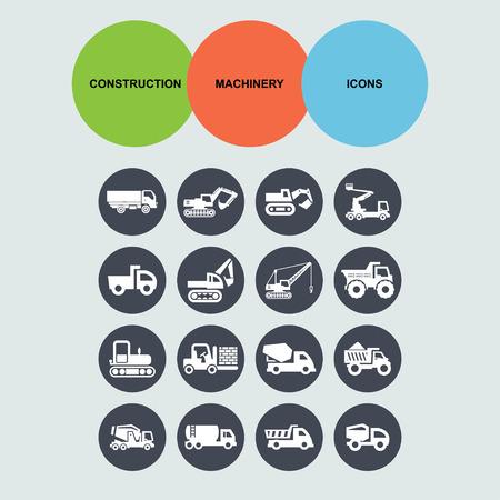 machinery: construction machinery icon set