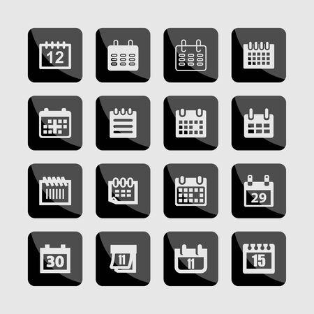 calendar date planning icon set Illustration