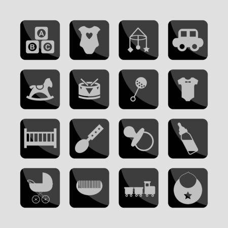 beanbag: child toys icon set