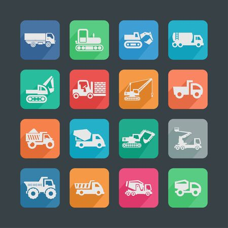 construction machinery icon set photo