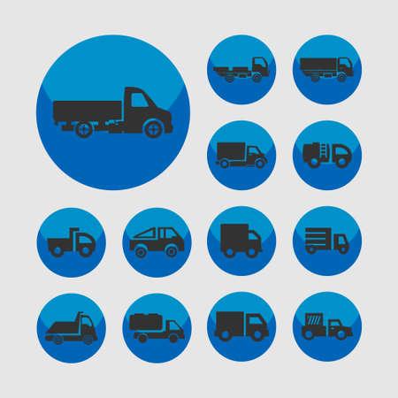 truckload: truck icon set Stock Photo