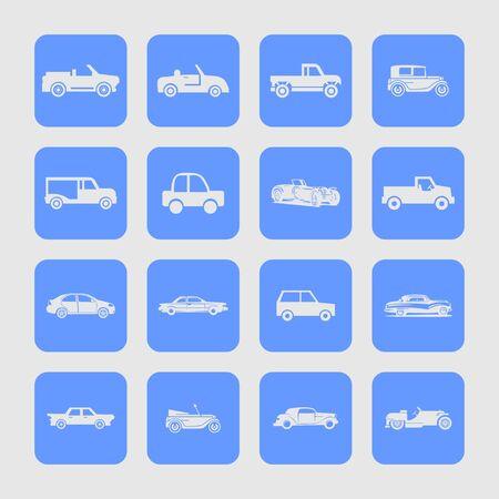 coupe: retro car icon set