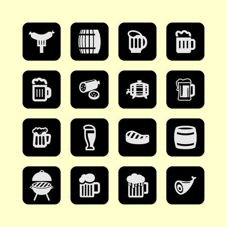 bbq barrel: Beer sausage icon set