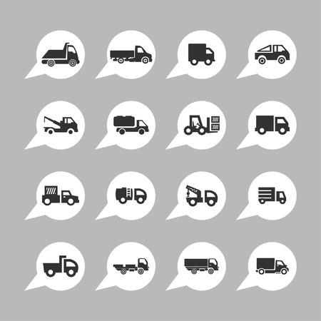 the wrecker: truck icon set Illustration