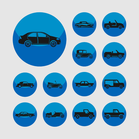 jalopy: retro car icon set