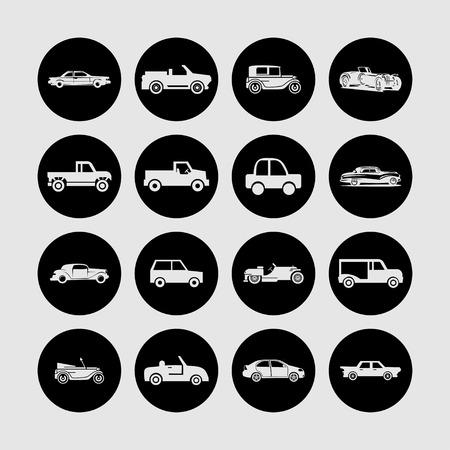 roadster: retro car icon set