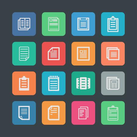 folio: document paper icon set