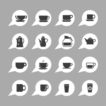 brewed: coffee cup icon set