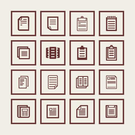 papier a lettre: le document papier, ic�ne, ensemble