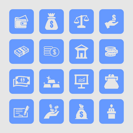 financial item: financial banking economy icon set