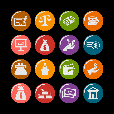 バンキング: financial banking economy icon set