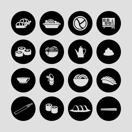 food sushi icon set