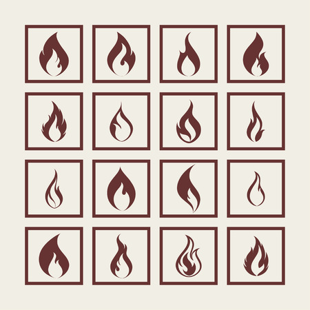 fire flame hot icon set