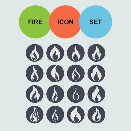 Feuer Flamme heißen Icon-Set