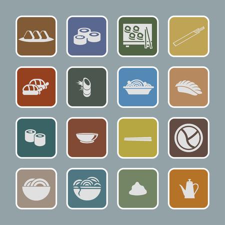 traditionally: food sushi icon set