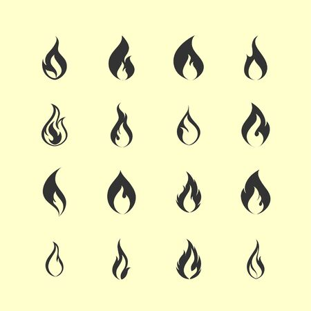 feuer flamme heiß icon set