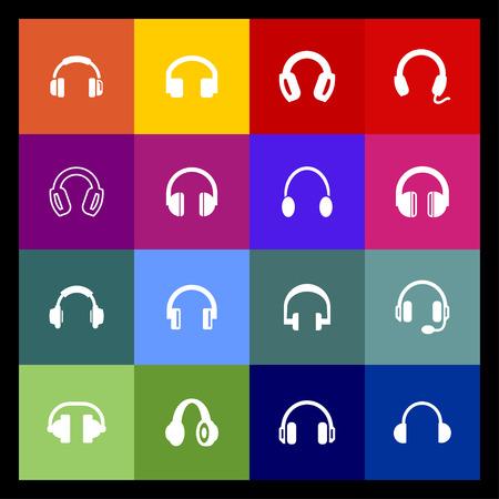 ear phones: headphones icon set Illustration