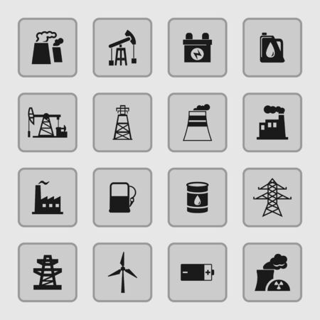 hazardous to the environment: industry icon set Illustration