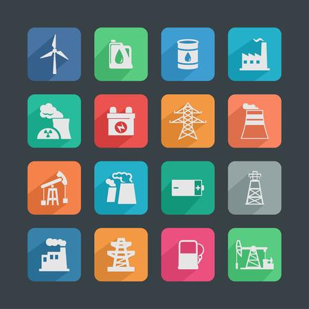 electricidad industrial: industria de conjunto de iconos