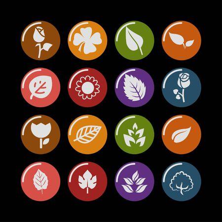 vegetate: leaves floral natural icon set