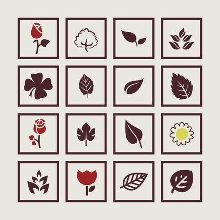 vegetate: leaves floral natural icon set