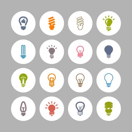 lamp bulb light icon set